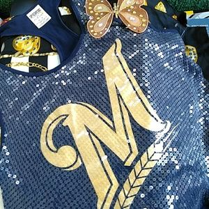 PINK M TOP SEQUENCES IN GOLD N BLUE